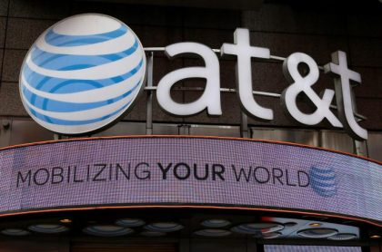 File photo of the signage for an AT&T store is seen in New York